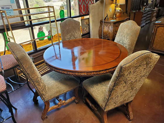 Traditional Style Dining W/4 Green Chairs (As Is) - Scottsdale