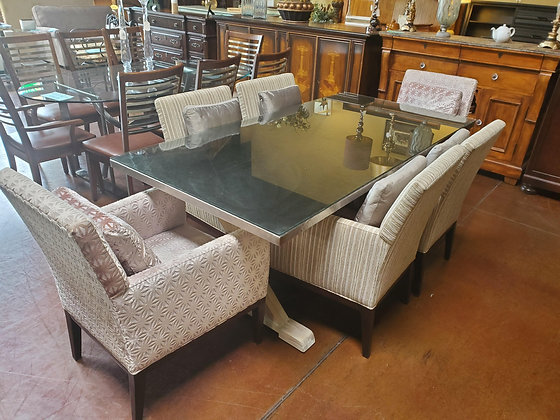 Berhardt Metal Dining Table W/Glass Top And 6 Chairs