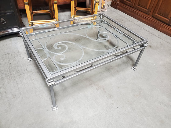 Silver Metal Coffee Table W/Glass Insert - Scottsdale