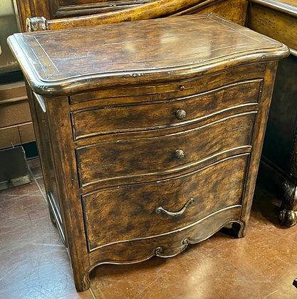 3-Drawer Dark Wood Nightstand