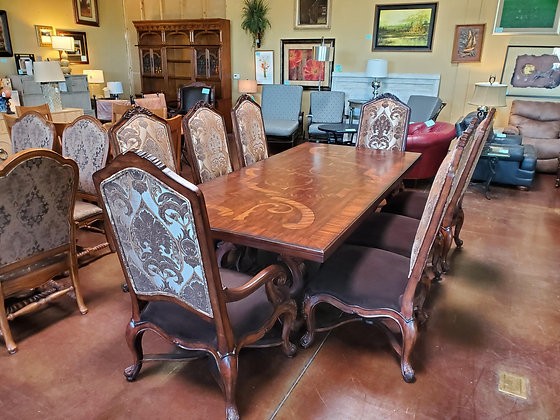 Solid Wood Dining Table W/Wood Inlay & 8 Chairs