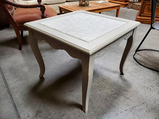 Wood End Table W/Metal Inlay - Scottsdale