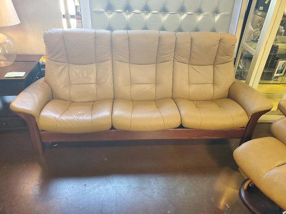 Stressless Leather Tan Sofa - Scottsdale