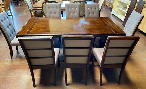 Espresso Dining Table with 11 Chairs & 2 Leaves