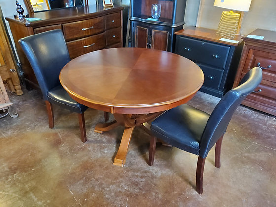 Cherry Color Round Dining Table W/2 Chairs - Scottsdale