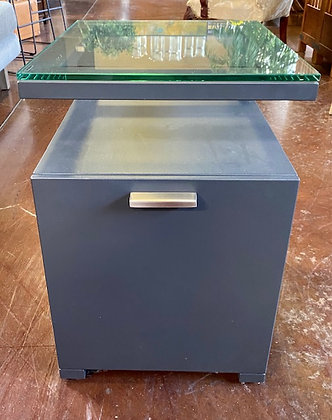 Crate & Barrel Glass Top End Table/File Cabinet Scottsdale