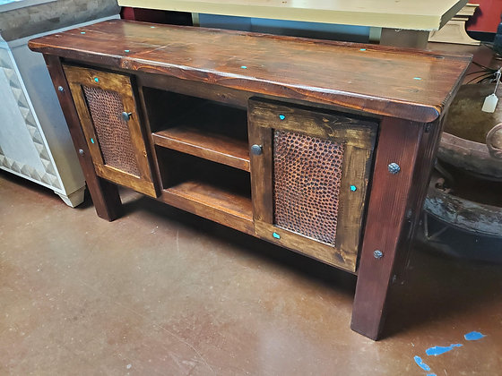 Rustic Sofa Table W/Copper Doors - Scottsdale