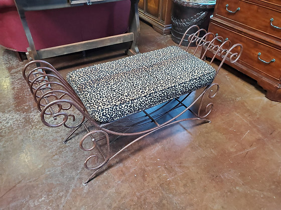 Iron Bench W/Animal Print Seat - Scottsdale