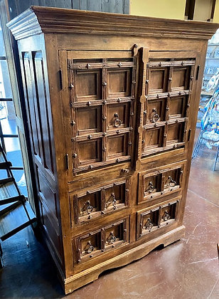 Rustic Solid Wood Armoire with Metal Accents