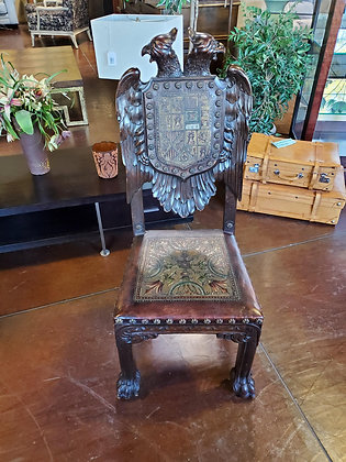 Antique Hand Carved Chair W/Leather - Scottsdale