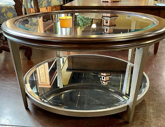 Round Glasstop Coffee Table with Antiqued Base