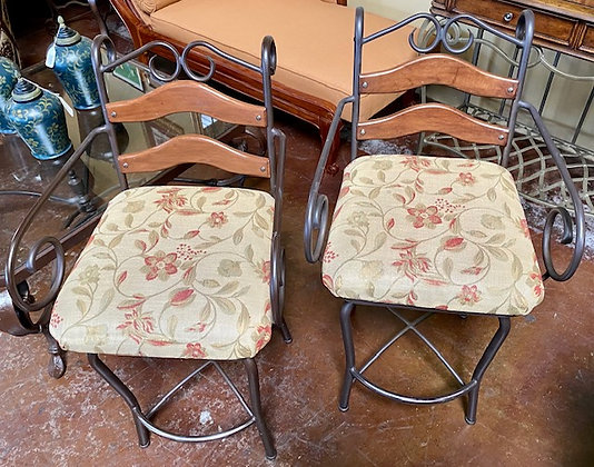 Set of 2 Highback Swivel Stools with Upholstered Cushions