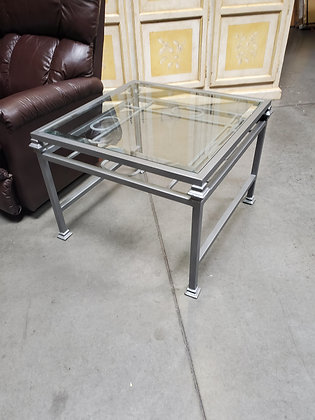 Silver Metal End Table W/Glass Insert - Scottsdale
