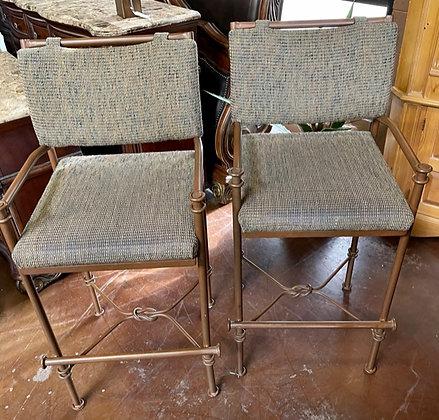 Set of 2 Metal & Upholstered Stools