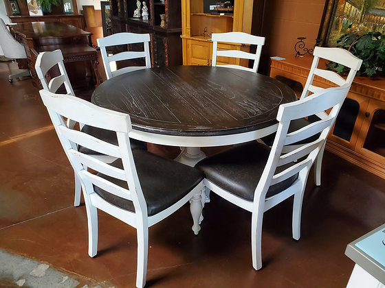Antique Country White Dining Table W/6 Chairs - Scottsdale