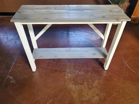 Custom Made White And Gray Sofa Table - Scottsdale