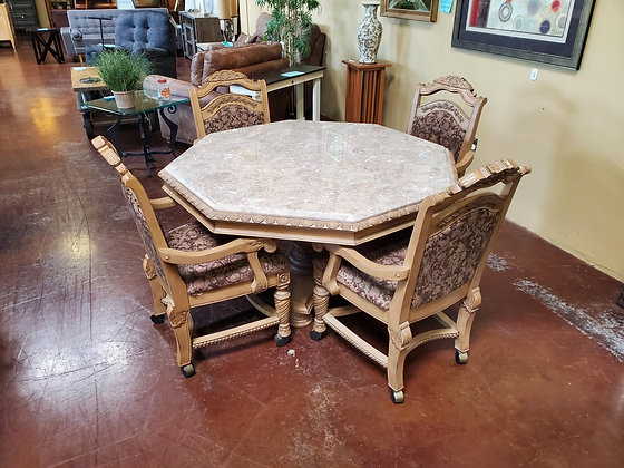 Traditional Style Stone Top Dining W/4 Caster Chairs - Scottsdale