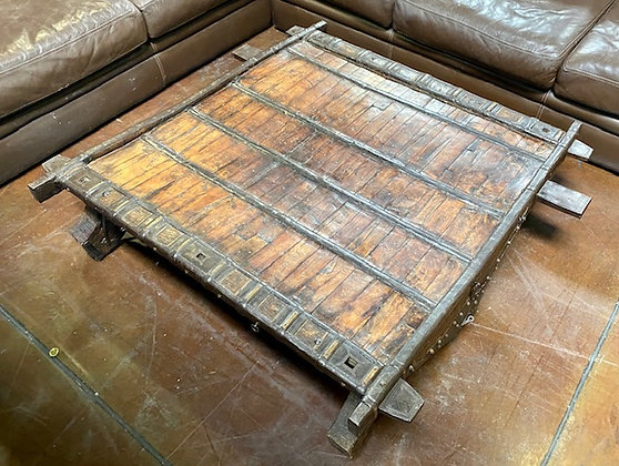 Rustic Coffee Table with Leather and Metal Accents