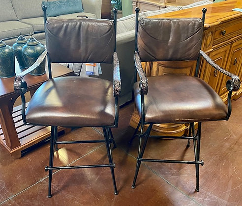 Set of 2 Dark Brown Southwest Style Barstools