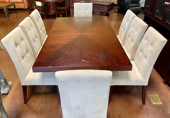 Espresso Dining Table with 8 Chairs & Leaf
