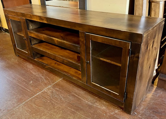 Rustic Dark Wood TV Console with 2 Glass Front Doors