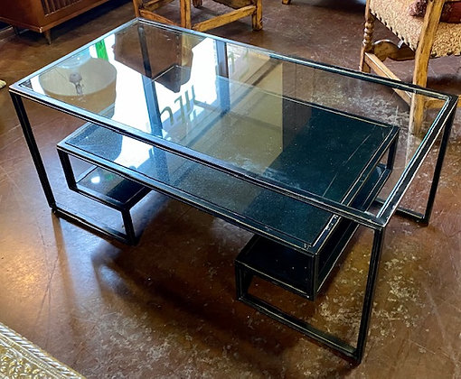 Contemporary Distressed Coffee Table with Glass and Stone Inserts Scottsdale