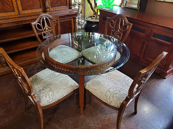 Glass Top Dining Table W/4 Chairs - Scottsdale