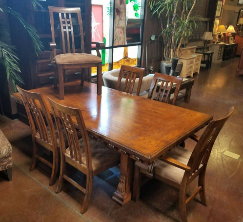 mission style dining table with 6 chairs 2 leaves scottsdale - Mission Style Dining Table