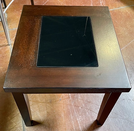 Espresso End Table w/Glass Insert Scottsdale