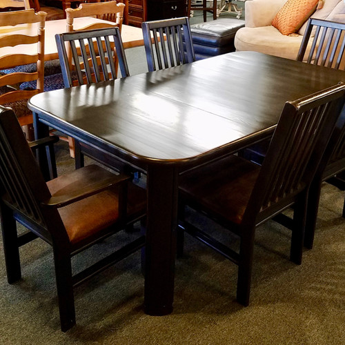Black Dining Room Table With 6 Black Chairs ...