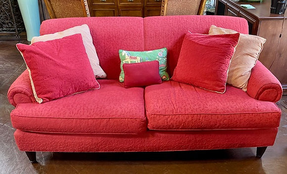 Custom Red Upholstered Sofa