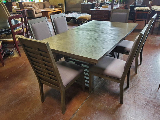 Grey Dining Table W/6 Chairs And Two Leafs - Scottsdale