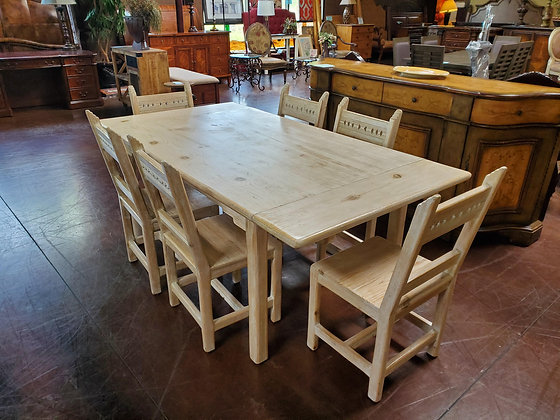 Rustic Solid Wood Dining Table W/6 Chairs And 2 Leafs - Scottsdale