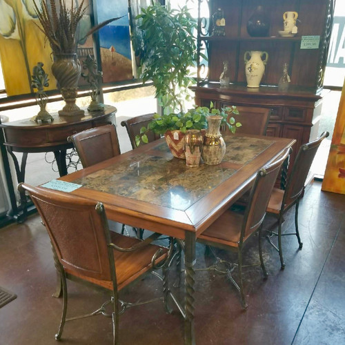 Stone And Metal Dining Room Table ...