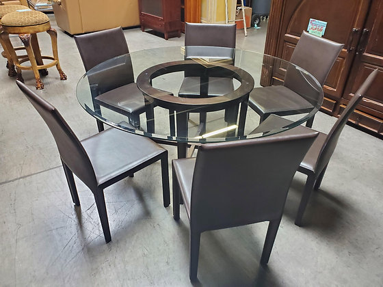 Glass Top Dining Table W/Brown Chairs - Scottsdale