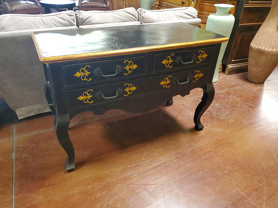 Black And Gold Distressed 3 Drawer Console - Scottsdale