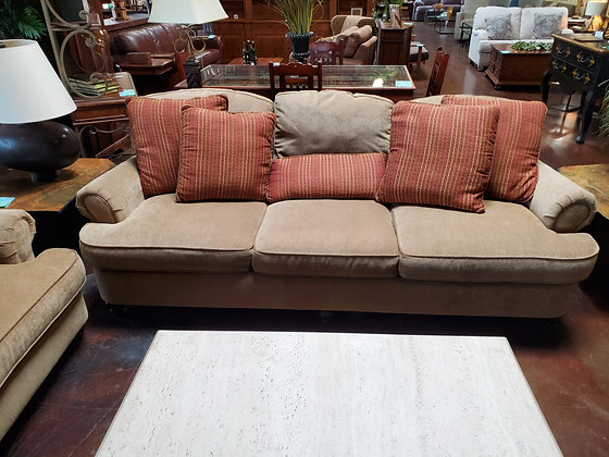 Bassett Tan Fabric Sofa - Scottsdale