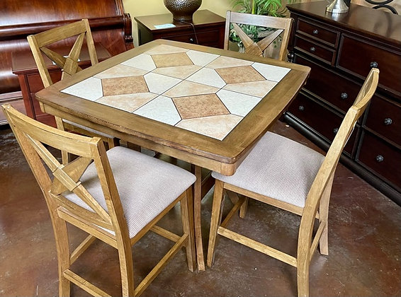 Tile Top Pub Table with 4 Stools