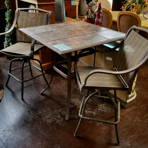... Rustic Pub Table With 2 Swirl Chairs Scottsdale