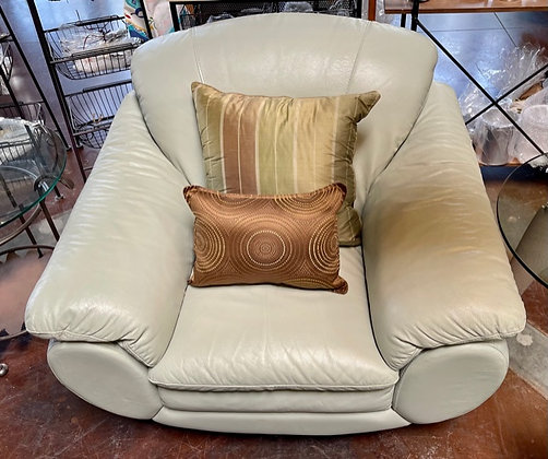 Natuzzi Mint Leather Armchair with Silver Feet