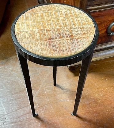 Small Round Iron and Wood End Table