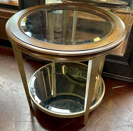 Round Glasstop End Table with Antiqued Base