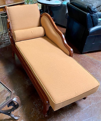 Imported Traditional Style Chaise Lounger with Burnt Orange Cushions