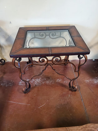 Leather Trim End Table W/Glass Insert - Scottsdale