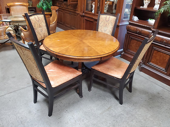 Rustic Round Wood Dining Table W/4 Chairs - Scottsdale