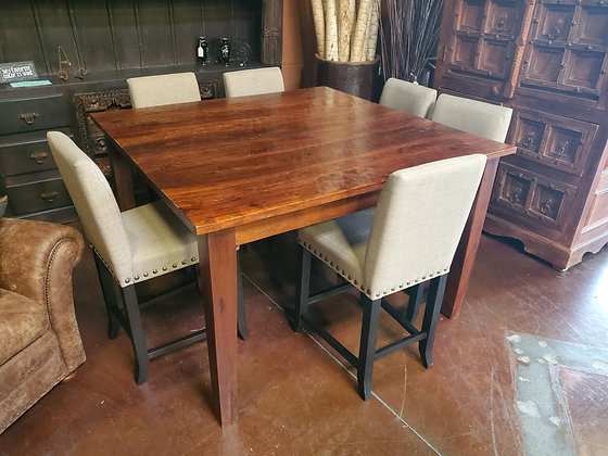 Rustic Solid Wood Dining Table W/6 Fabric Chairs - Scottsdale