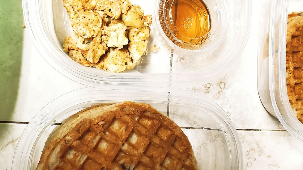 Protein Waffles/Turkey Bacon or Scrambled Egg & Maple Syrup