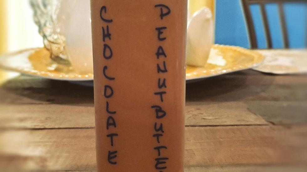 Chocolate Peanut Butter Vegan Protein Shake (pictured w/ added Caffeine)