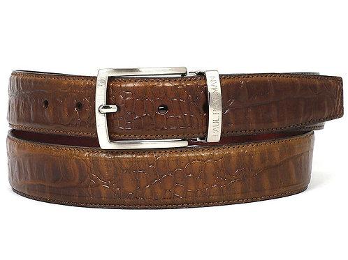 PAUL PARKMAN Men's Crocodile Embossed Calfskin Leather Belt Hand-Painted Olive
