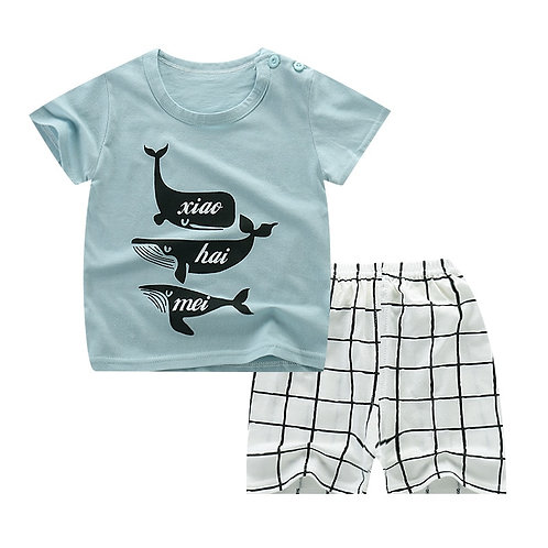 Baby Boys Clothes Suits Fish Style Boys Clothing Sets T- Shirt+Pants Casual
